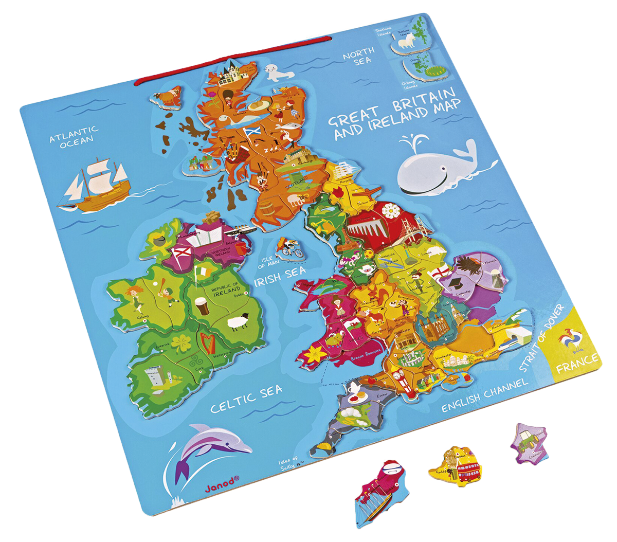 John Lewis & Partners Janod Great Britain And Ireland Wooden Magnetic Map Jigsaw Puzzle, 80 Pieces £23.99