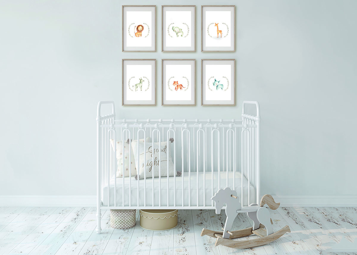 Nursery Bed_Six frames_Safari Animals Natural